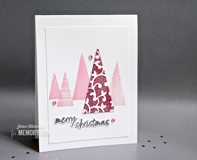 MemoryBoxHuttonGates-MemoryBoxThat'sAcuteTriangleDies-MemoryBoxThat'sAcuteTriangleClearStampsSet-MemoryBoxBoldChristmasGreetings-MemoryBoxRectangleBasics-JeanOkimoto-PastelChristmas-ChristmasDiecuts-GlitteredDiecuts