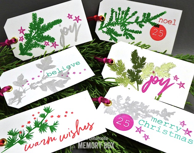 MemoryBoxWinterGreenery-MemoryBoxBoldChristmasGreetings-MemoryBoxtypewriterHolidayElements-JeanOkimoto-ImagineCrafts-GiftTags-StampedTags-ChristmasTags-ImpressCardsAndCrafts-StampedTags
