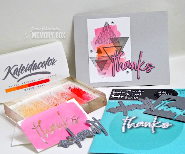 MemoryBoxEqualTriangleClearStampsSet-MemoryBoxThanksJottedScript-MemoryBoxRectangleBasics-JeanOkimoto-ImagineCrafts-Kaleidacolor-Brilliance-WatercoloredBackgrounds-TriangleStamps