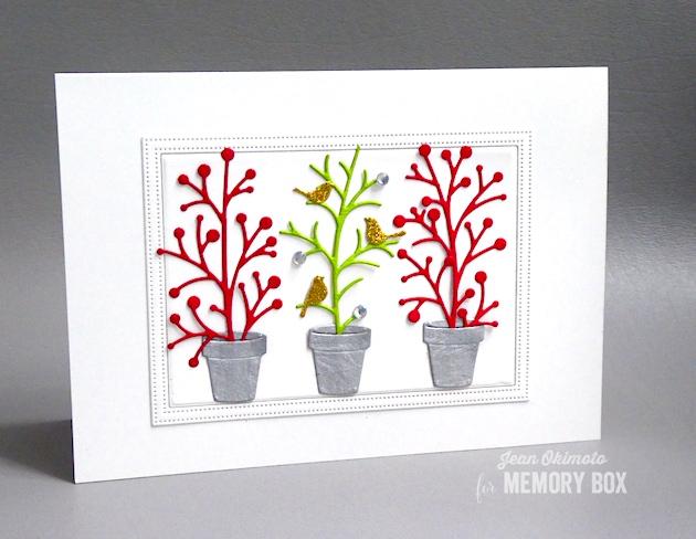 MemoryBoxHolidayTwigs-MemoryBoxSnowberrySprigs-MemoryBoxDelicatePineFrame-MemoryBoxSimpleGardenPots-JeanOkimoto-MemoryBoxCoCards-MemoryBoxDiecuts-BirdDiecuts-GardenDiecuts-ImpressCardsAndCrafts