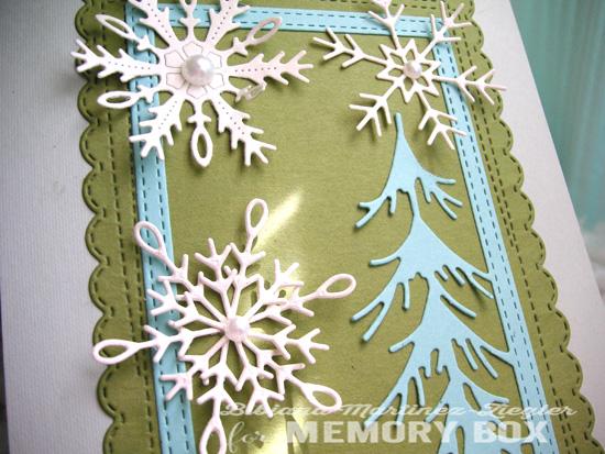 Xmas snowflakes pines detail