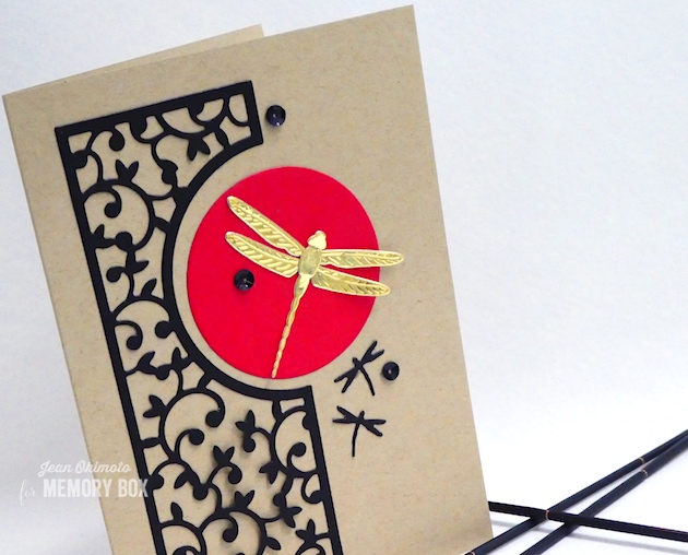 MemoryBoxLeftHuttonGate-MemoryBoxDazzlingDragonfly-MemoryBoxLittleDragonflies-MemoryBoxCircleBasics-JeanOkimoto-CardsWithMemoryBoxDies-DragonflyCards
