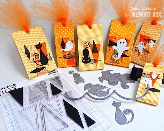 MemoryBoxStitchBumpBorder-MemoryBoxCoolCat-MemoryBoxCrouchingCat-MemoryBoxFriendlyGhosts-MemoryBoxSwirlingGhosts-MemoryBoxThat'sAcuteTriangleClearStamps-JeanOkimoto-ImagineCrafts-VersaFine-VersaFineClair