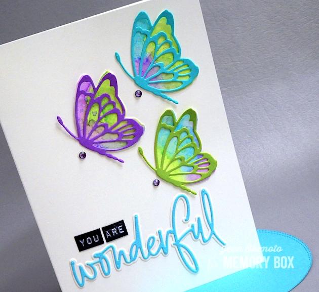 MemoryBoxFlitterSideButterfly-MemoryBoxWonderfulJottedScript-JeanOkimoto-MemoryBoxButterflies-ButterflyDiecuts-WatercoloredButterflies-ImagineCrafts-KaleidacolorDyeInkRefills-ImpressCardsAndCrafts