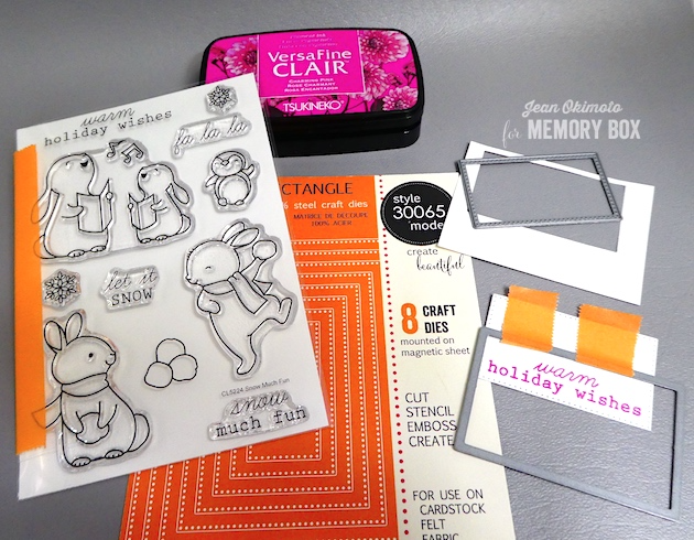 MemoryBoxSnowMuchFunClearStamps-MemoryBoxPinpointRectangleLayers-JeanOkimoto-VersaFineClair-ImagineCrafts