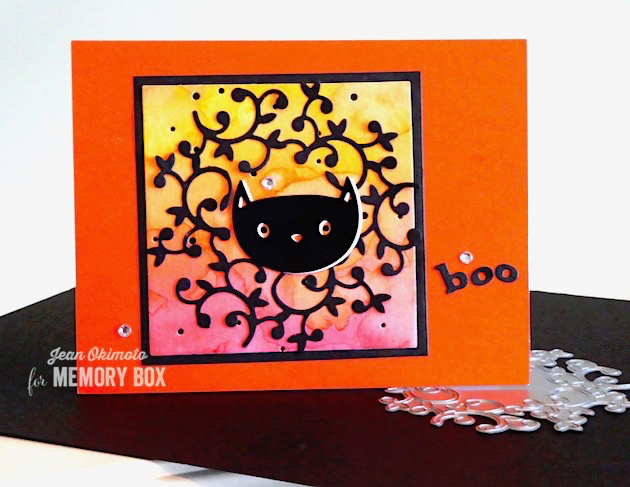 MemoryBoxHuttonWreath-MemoryBoxWhimsyCat-MemoryBoxSquareBasics-MemoryBoxPlayfulBoo-MemoryBoxSpeckledBackground-JeanOkimoto-ImagineCrafts-Kaleidacolor-ImpressCardsAndCrafts-WatercoloredHalloweenCards-HalloweenDiecuts