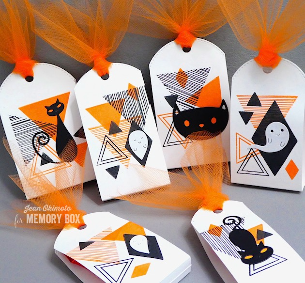 MemoryBoxCoolCat-MemoryBoxFriendlyGhosts-MemoryBoxCrouchingCat-MemoryBoxEqualTriangleClearStamps-MemoryBoxStitchedBumpBorder-JeanOkimoto-HalloweenTreatWrappers-HalloweenDiecuts
