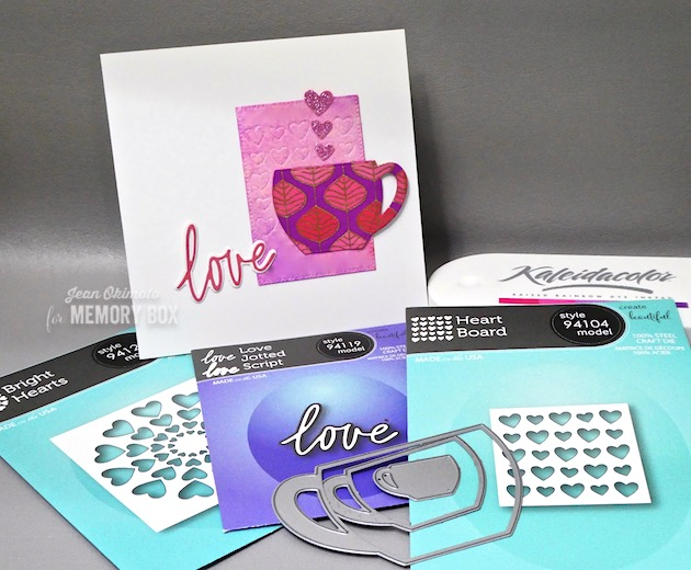 MemoryBoxHeartBoard-MemoryBoxBrightHearts-MemoryBoxLoveJottedScript-MemoryBoxPinpointRectangleLayers-MemoryBox CozyMugs-JeanOkimoto-HeartDiecuts-ValentineCards-DiecutValentines-HeartDiecuts-ImagineCrafts-ImpressCardsAndCrafts