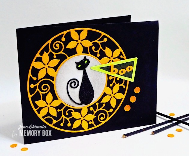 MemoryBoxThat'sAcuteTriangle-MemoryBoxCoolCat-MemoryBoxCircleBasics-MemoryBoxPoinsettiaCircleFrame-JeanOkimoto-VersaFineClair-ImagineCrafts-ImpressCardsAndCrafts-HalloweenCards-CatCards-HalloweenDiecuts