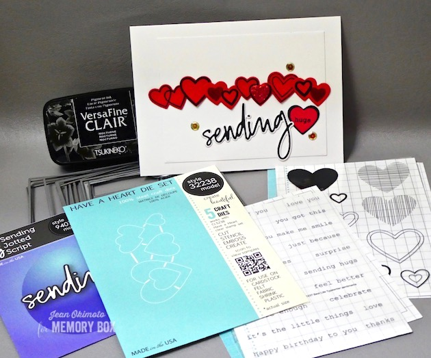 MemoryBoxHaveAHeartClearStamps-MemoryBoxHaveAHeartCraftDies-MemoryBoxRectangleBasics-MemoryBoxSendingJottedScript-MemoryBoxBestLifeClearStamps-JeanOkimoto-VersaFineClair-ImagineCrafts-ImpressCardsAndCrafts-ValentineDiecuts-HeartDiecuts-HeartCards