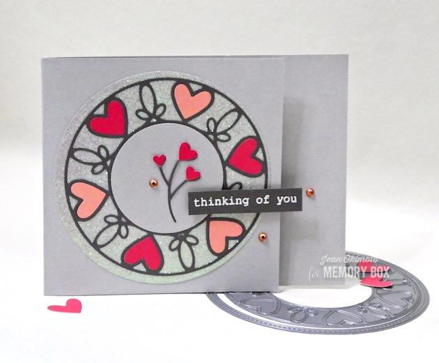 MemoryBoxScrollworkHeartCircleFrame, MemoryBoxBestLifeTypewriterSentiments, JeanOkimoto, VersaMark, ImpressCardsAndCrafts, ValentineDiecuts, GlitteredDiecuts, HeartCards