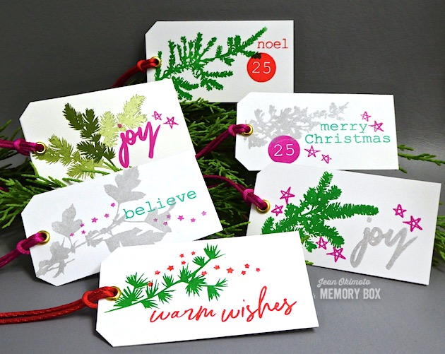 MemoryBoxWinterGreenery-MemoryBoxBoldChristmasGreetings-MemoryBoxtypewriterHolidayElements-JeanOkimoto-ImagineCrafts-GiftTags-StampedTags-ChristmasTags
