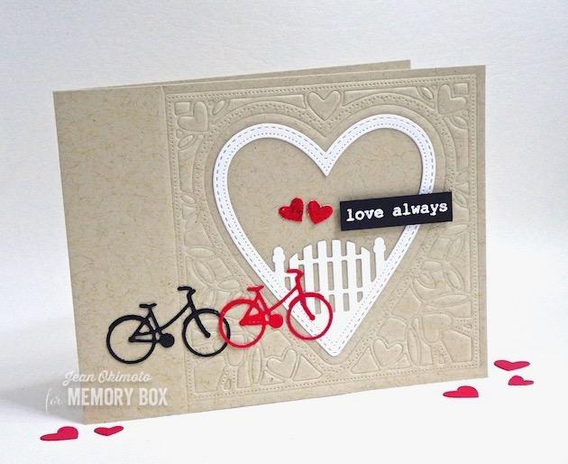 MemoryBoxNeighborhoodHeartFrame-MemoryBoxBestLifeTypewriterSentimentsClearStamps-JeanOkimoto-VersaMark-ImagineCrafts-ImpressCardsAndCrafts-ValentineCards-ValentineDiecuts-HeartCards-HeartDiecuts-BicycleDiecuts