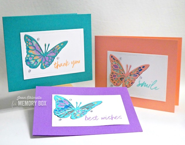 MemoryBoxFloatingButterfly-MemoryBoxBoldFriendlyGreetings-MemoryBoxWrappedStitchRectangles-JeanOkimoto-ImagineCrafts-BrillianceInkpads-ImpressCardsAndCrafts-ButterflyDiecuts-ButterflyCards-ShizenDesignPapers