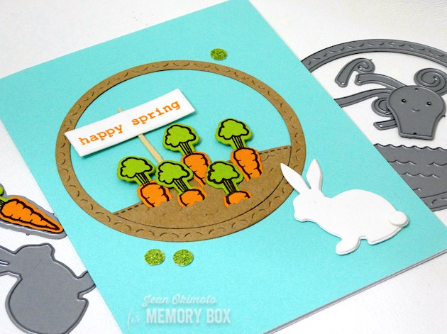 MemoryBoxGentleBunny, MemoryBoxHappyOctopus,MemoryBoxSpringtimeTypewriterSentiments, MemoryBoxRectangleBasics, MemoryBoxSpringBunniesClearStamps, MemoryBoxSpringBunniesDieSet, MemoryBoxStitchedCurves, VersaFineClair,ImagineCratts,JeanOkimoto, ImpressCardsAndCrafts, SpringCards, SpringDiecuts, BunnyCards, BunnyDiecuts, CarrotCards