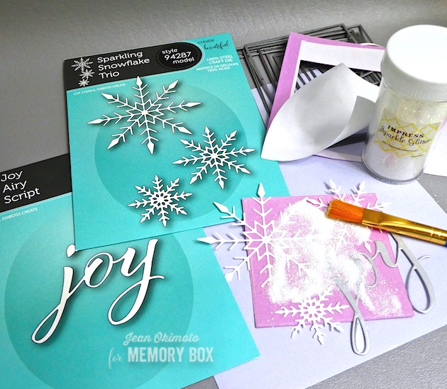 MemoryBox2019HolidayCollection, MemoryBoxJoyAiryScript, MemoryBoxSparklingSnowflakeTrio, MemoryBoxMerryAndBrightMistletoeClearStamps, JeanOkimoto, ImagineCrafts, BrillianceInkpads, ImpressCardsAndCrafts, SnowflakeCards, GlitteredCards, SnowflakeDiecuts, WinterPastelCards