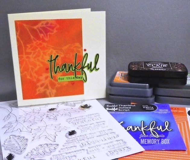 MemoryBoxGratefulAutumnClearStamps, MemoryBoxThankfulJottedScript, MemoryBoxPinpointRectangleLayers, DistressOxides, Color-Lifting, JeanOkimoto, VersaFineClair, WatercoloredCards, LeafCards