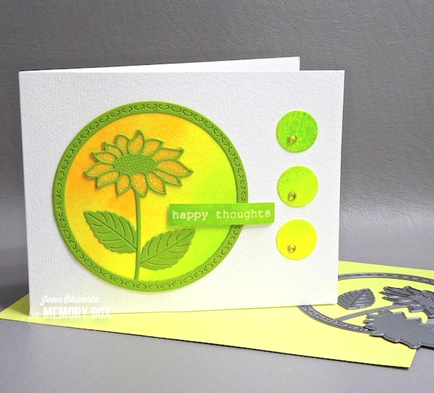 MemoryBoxBrilliantSunflower, MemoryBoxCircleBasics, MemoryBoxRoseBouquetClearStamps, JeanOkimoto, ImagineCrafts, VersaMark, Kaleidacolor, ImpressCardsAndCrafts.FllowerDiecuts, WatercoloredCards, GlitteredCards