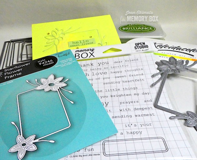 MemoryBoxApril2019Collection, MemoryBoxStarflowerFlowerFrame, MemoryBoxBigAndLittleWordsClearStampSet, MemoryBoxRectangleBasics, MemoryBoxNotecards, JeanOkimoto, FlowerCards, WatercoloredFlowerCards, ImpressCardsAndCrafts, FlowerDiecuts, ImagineCrafts, Kaleidacolor