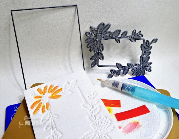 MemoryBoxDaisyFlowerFrame, MemoryBoxRectangleBasics, MemoryBoxBigAndLittleWordsClearStamps, JeanOkimoto, PeerlessWatercolors, ImagineCrafts, EmbossingWithDies, EmbossedFlowerCards, WatercoloredFlowerCards, ImpressCardsAndCrafts