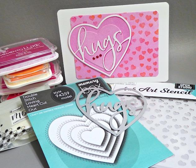 MemoryBox HeartBouquet3DEmbossingFolder, MemoryBoxHugsLovingHeart, MemoryBoxDoubleStitchLovingHeartCutOut, HeartStencils, HandmadeValentines, HeartDiecuts, WordDiecuts, JeanOkimoto, ImagineCrafts, MementoLuxe, RadiantNeons, ImpressCardsAndCrafts, MBoss, MemoryBoxRectangleBasics