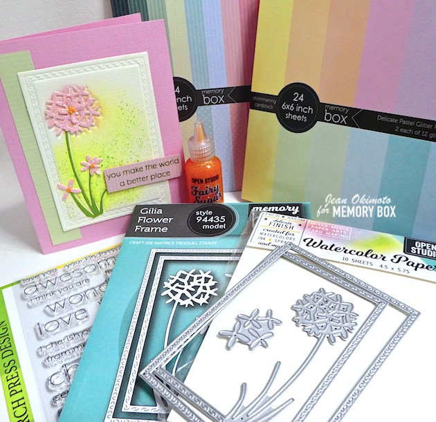 MemoryBoxGiliaFlowerFrame, MemoryBox2020SpringCollection, MemoryBoxCottageStripesAndDots6x6Papers, MemoryBoxDelicatePastelGlitterPad, MemoryBoxOpenStudioFairySugarGlitterGlue, MemoryBoxGlitterGlue, MemoryBoxOpenStudioWatercolorPaper, BirchPressDesignYouAreAwesomeClearStamps, JeanOkimoto, MemoryBoxCo, VersaFineClair, DistressOxides, GlitterCardstock, FlowerDiecuts, SpringCards, FlowerCards, ImpressCardsAndCrafts