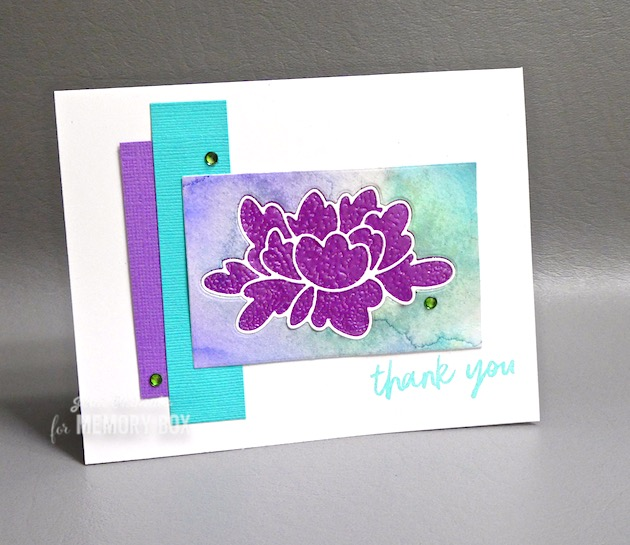 MemoryBoxLargeDoublePeony, MemoryBoxRectangleBasics, MemoryBoxBoldFriendlyGreetingsClearStamps, Jean Okimoto, ImagineCrafts, MBoss, FlowerDiecuts, DiecutFlowerCards, EmbossedDiecuts, ImpressCardsAndCrafts, TapeEmbossing
