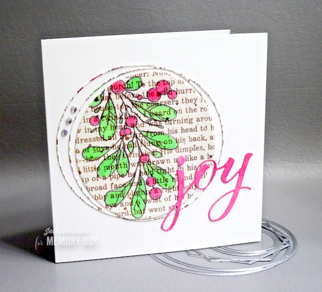 MemoryBoxMistletoeSwagClearStamps, MemoryBoxStylishFrameTrio, MemoryBoxJoyAiryScript, MemoryBoxTwasTheNightWideWashiTape,JeanOkimoto, ImagineCrafts, WideWashiTape, ClearStamps, ClearHolidayStamps,CircleDiecuts, WordDiecuts,ImpressCardsAndCrafts