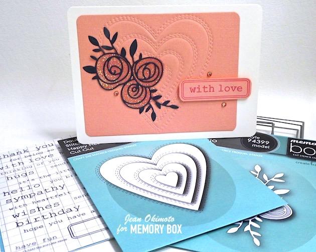 MemoryBoxDoubleStitchHappyHeartCutOut, MemoryBoxScribbleRoseTrio, MemoryBoxRectangleBasics, MemoryBoxBigAndLittleWordsClearStamps, EmbossingWithDies, DiecutRoses, JeanOkimoto, ImpressCardsAndCrafts, ImagineCrafts