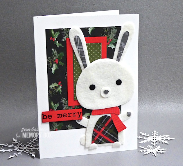 MemoryBoxDeepEdgeDies, MemoryBoxSnowBunny, MemoryBoxDashing Holiday6x6Prints, MemoryBoxDashingStripesAndDots6x6Prints, MemoryBoxRectangleBasics, MemoryBoxMistletoeSwagClearStamps, JeanOkimoto, ImagineCrafts, FeltDiecuts, HolidayDiecuts, BunnyCards, HolidayDiecutCards
