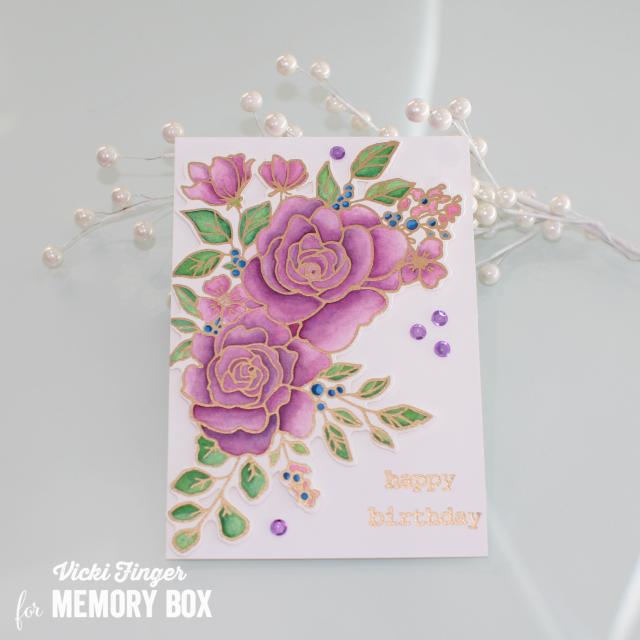 CL5251 Birthday Rose Corner clear stamp set