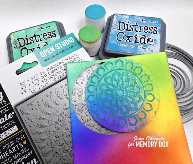 MemoryBoxSereneMandalaEmbossingFolder, MemoryBoxCircleBasics, PoppystampsGreetingBasics, MemoryBoxTwinklingJewelGlitterPad, EmbossedDiecucts, ClearStamps, JeanOkimoto, ImpressCardsAndCrafts