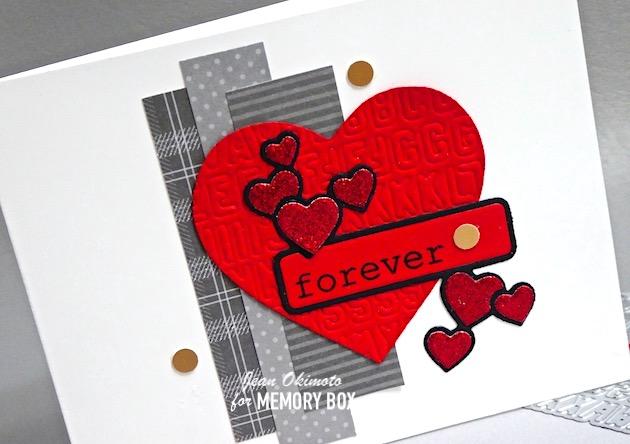 MemoryBoxAntiqueHeart Label, MemoryBoxMiniVintageVarsityAlphabet, MemoryBoxBigAndLittleValentinesClearStamps, MemoryBoxDashingStripesAndDots6x6Set, MemoryBoxDashingHoliday6x6Set, JeanOkimoto, EmbossingWithDies, DiecutHearts, ValentineDiecuts, HandmadeValentines, ImpressCardsAndCrafts