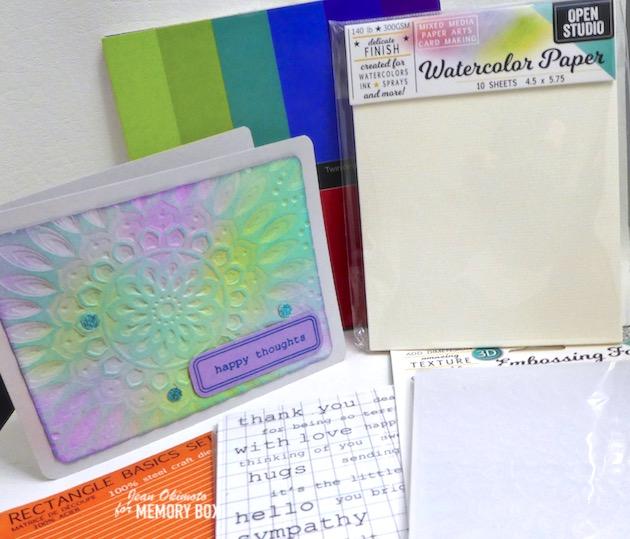 MemoryBoxSereneMandala3DEmbossingFolder, MemoryBoxRectangleBasics, MemoryBoxOpenStudioWatercolorPaper,MemoryBoxTwinklingJewel6x6GlitterPack, MemoryBoxBigAndLittleWordsClearStamps, ImagineCrafts, DistressOxides, EmbossingFolders, ImpressCardsAndCrafts, JeanOkimoto