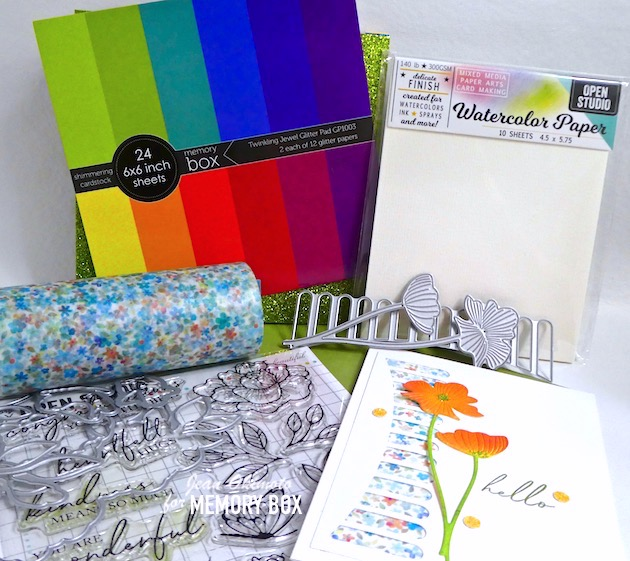 MemoryBoxCascadiaBackgroundStrip, MemoryBoxSplendidPoppy Stems, MemoryBoxTwinklingJewelGlitterPad, MemoryBoxCorneliaWideWashiTape, MemoryBoxPeonyGardenCornerClearStamps, MemoryBoxFairySugarGlitterGlue, JeanOkimoto, FlowerDiecuts, BorderDiecuts, WatercoloredFlowers, ImpressCardsAndCrafts