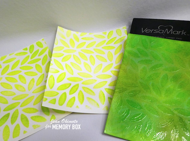 MemoryBoxOpenStudioWatercolorPaper, MemoryBoxGracefulRoseAndBackground, MemoryBoxScribbleFrondBackground, MemoryBoxTwinklingJewelGlitterPad, MemoryBoxPeonyGardenCornerClearStampsAndDies, MemoryBoxLeafyJumbleStencil, JeanOkimoto, MemoryBoxRectangleBasics, VersaMark, ImagineCrafts, DistressOxides, FlowerDiecuts, LeafDiecuts, ImpressCardsAndCrafts