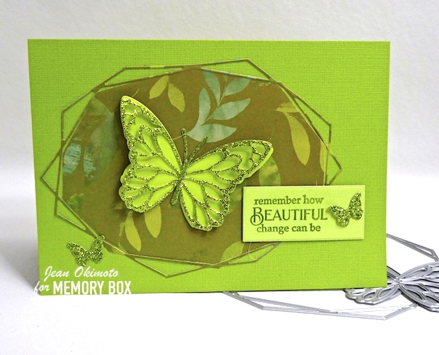 MemoryBoxGeodesicOvalTrio, MemoryBoxGloriosaButterflyDuoBackground, MemoryBoxGloriosaButterflyDuoOutlines, MemoryBoxGardenFolly6x6Pack, MemoryBoxRectangleBasics, MemoryBoxButterflyMeadow, MemoryBoxTwinklingJewelGlitterPad, PoppystampsGreetingBasics, JeanOkimoto, VersasFineClair, ButterflyDiecuts, DiecutGlitter, ImpressCardsAndCrafts, ButterflyCards, 6x6Papers