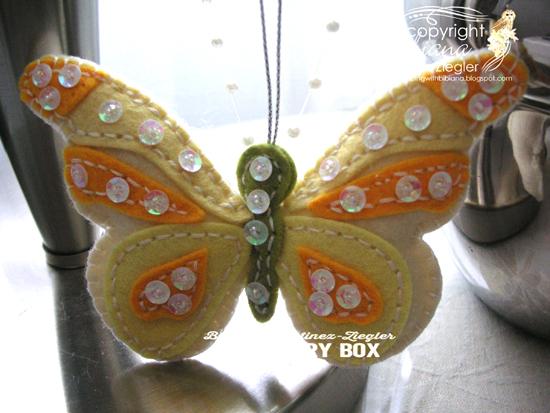 Felt yellow butterfly last