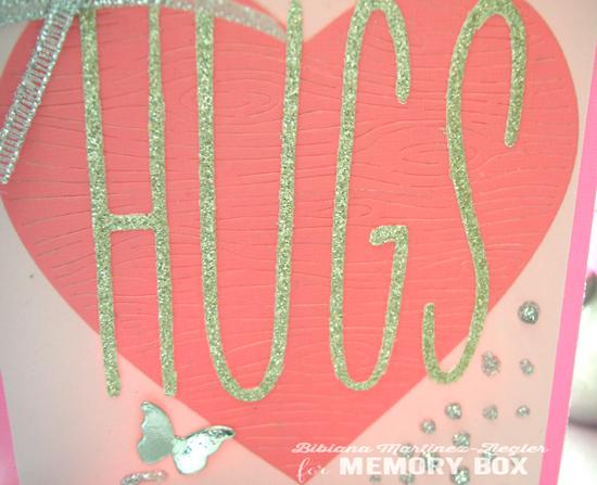 Val pink heart hugs detail