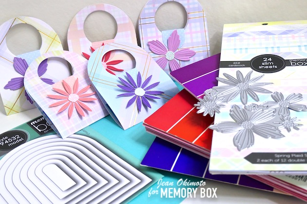 MemoryBoxNestedGlobes, MemoryBoxCircleBasics, MemoryBoxSpringPlaidSlim, MemoryBoxLayeredDaisies, MemoryBoxLayeredFreshFlowers, MemoryBoxCottageStripesAndDots, MemoryBoxTwilightPurple6x6, MemoryBoxVibrantViolet6x6, MemoryBoxBerryRed6x6, MemoryBoxDelicatePastelGlitter6x6, JeanOkimoto, SlimlinePapers, TreatWrappers, TreatTotes, DiecutFlowers, FlowerDiecuts, ImpressCardsAndCrafts, StampsAndMemoriesHawaii