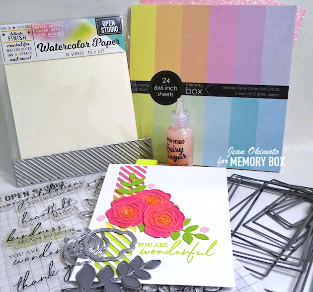 MemoryBoxRoseBlossomAndBackground, MemoryBoxDiagonalStripeCollage, MemoryBoxPeonyGardenCornerClearStampsAndDiesSet, MemoryBoxWatercolorPaper, MemoryBoxDelicatePastelGlitterPad, MemoryBoxScribbleLeafyBranchBackground, MemoryBoxRectangleBasics, MemoryBoxGlitterGlue, JeanOkimoto, DiecutFlowers, DiecutBorders, BlendedInks, ImpressCardsAndCrafts