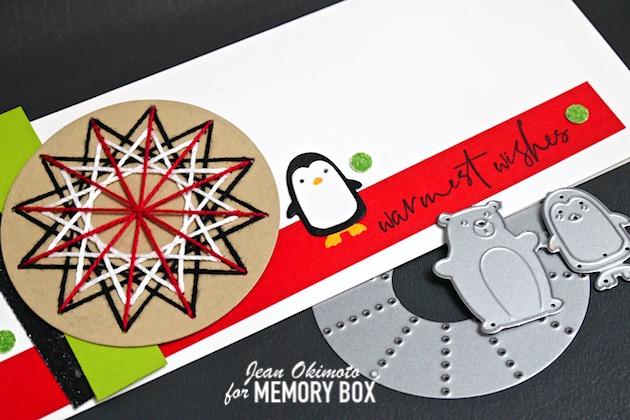 MemoryBoxStitchedBurst, MemoryBoxCircleBasics, MemoryBoxSnowglobeBackerSet, MemoryBoxBerryWreathClearStampAndDieSet, MemoryBoxFrostedGlitterPad, StitchedCards, PenguinCards, HandmadeHolidayCards, PenguinCards, JeanOkimoto, VersaFine