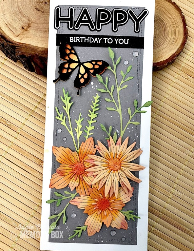 Flower and Butterflies Card Toppers die cuts 5 pieces