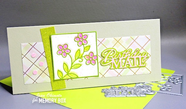 MemoryBoxStainedGlassFloral, MemoryBoxSlimBasicRectangles, MemoryBoxSquareBasics, MemoryBoxOpenStudioWatercolorPaper, MemoryBoxLushGreen6x6Collection, MemoryBoxSpringPlaidSlimPack, MemoryBoxDelicatePastelGlitterPad, MemoryBoxFrostedGlitterPad, MemoryBirthdayMailPoshScript, JeanOkimoto, FlowerDiecuts, WordDiecuts, SlimlineCards, DiecutEmbossing, EmbossingTechniques, ImpressCardsAndCrafts, StampsAndMemoriesHawaii