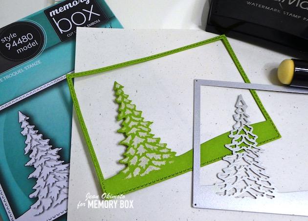 MemoryBoxSinglePineLandscapeFrame, VersaMark, Embossing, HolidayDiecuts, TreeDiecuts
