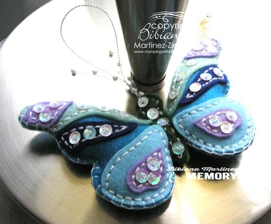 Felt blue butterfly front