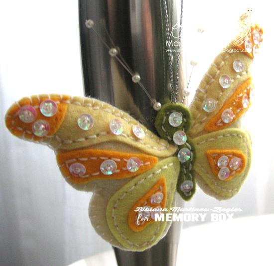 Felt yellow butterfly front