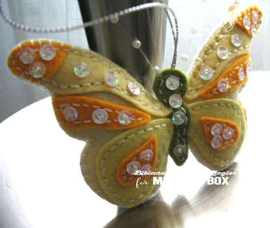Felt yellow butterfly detail