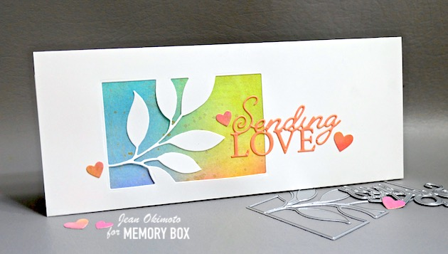 MemoryBoxVerdantLeafCollage, MemoryBoxSendingLovePoshScript, MemoryBoxBrightHearts, MemoryBox2021ValentineCollection, HandmadeCards, Papercrafts, DistressOxides, DiecutCards, LeafDiecuts, JeanOkimoto, ImpressCardsAndCrafts, StampsAndMemoriesHawaii, SlimlineCards, WindowCards, SlimlineWindowCards