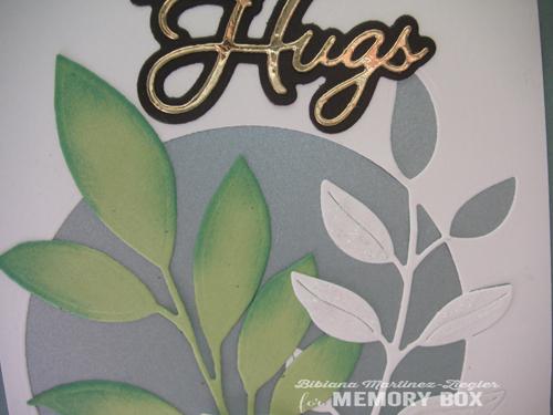 Blue leaves big hugs detail